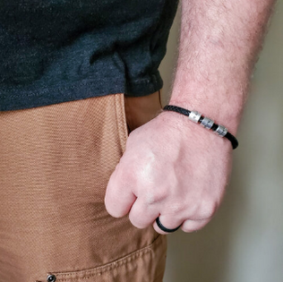 Leather Bracelet, Custom Beads