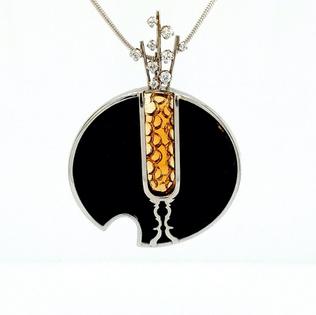 Onyx, Citrine Glass Pendant