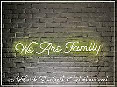 we arev family neon sign - neon sign - adelaide startlight entertainment - weddings - events - birthdays - birthday ideas - wedding ideas