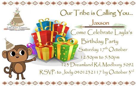 Little Aussie Teepees Birthday invitations