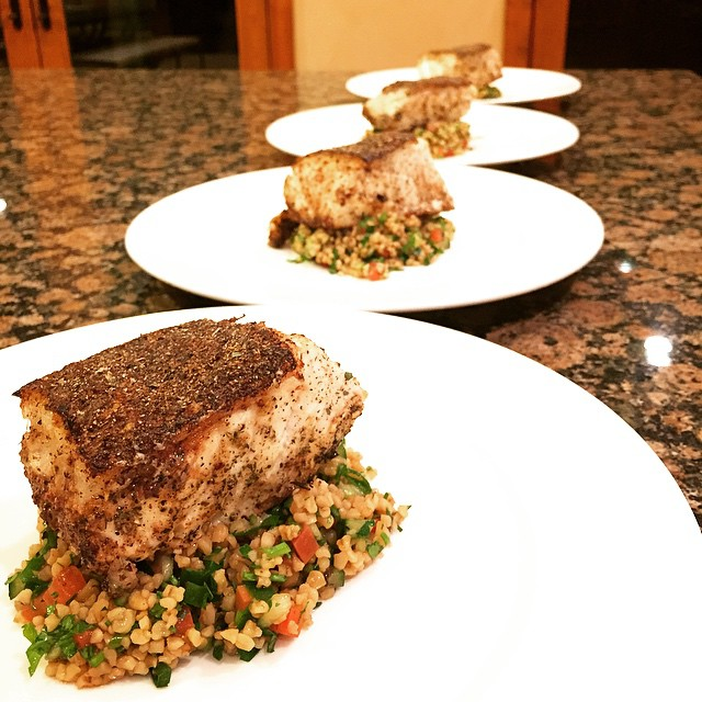 Greek Chilean sea bass w/ Tabouli