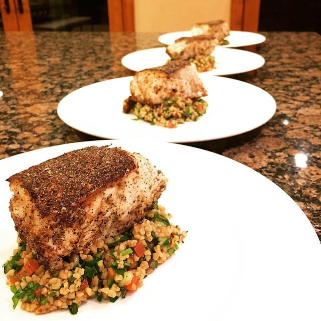 Greek Chilean sea bass w/ Tabouli
