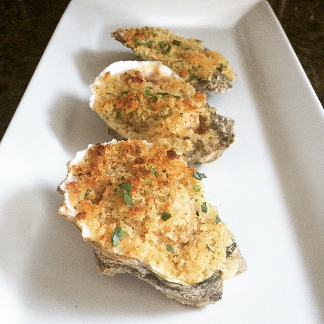 Lemon garlic chipotle oysters Rockefeller