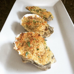 Lemon garlic chipotle oysters Rockefeller