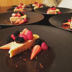 Lemon & Almond cake w/ chambord marinated berries