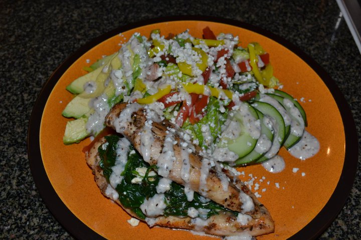 Greek stuffed chicken w/ Greek salad
