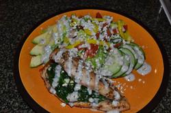 Greek stuffed chicken w/ Greek salad