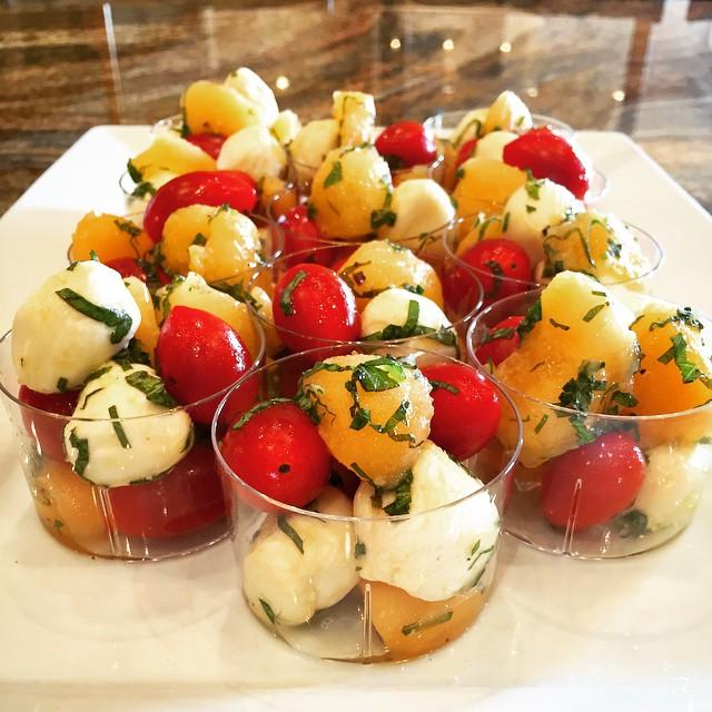 Miniature cantaloupe & mint caprese salad