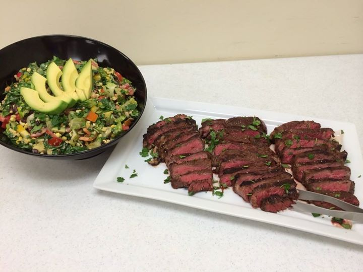 Dry Aged Beef Ribeyes, with a southwestern chop salad