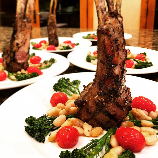 Garlic, Lemon, Rosemary Lamb Chops with Tuscan White beans & broccoli