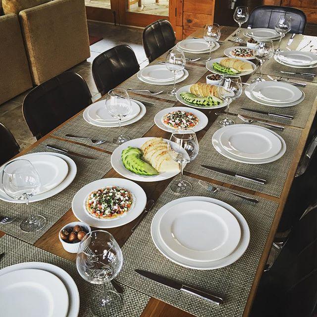 Family style Mediterranean dinner