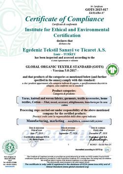 GOTS Organic Certificate