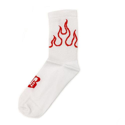 Volchok Socks - Flames - White