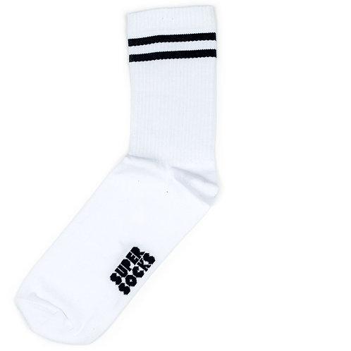 SUPER SOCKS - Two Stripes - White