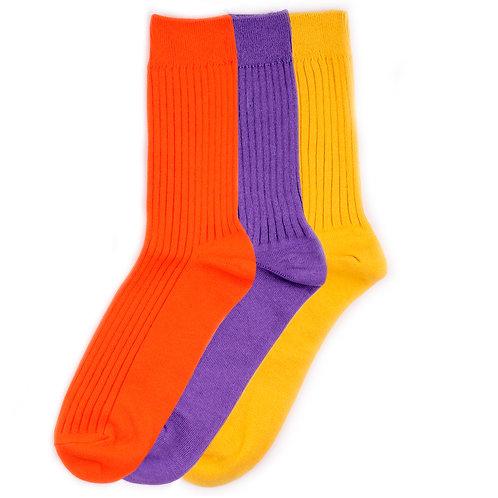 Yarn Works Socks - Solid Colors - Orange/Purple/Yellow - 3 Pair Set