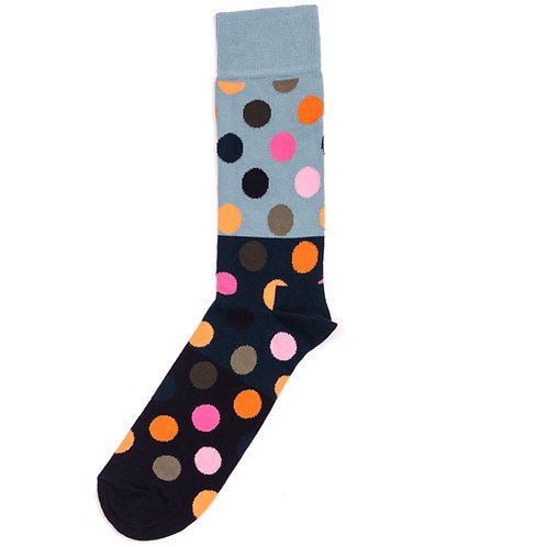 Happy Socks Big Dot Color Block - Grey/Black