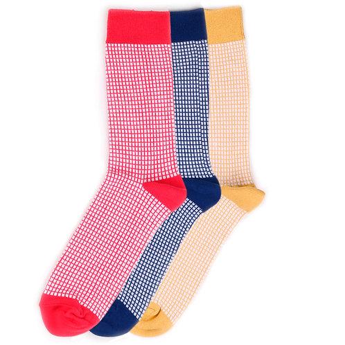 Yarn Works Socks - Net - Red/Blue/Yellow - 3 Pair Set - Набор из 3-х пар