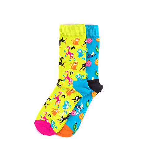Happy Socks Kids 2 Pair Pack - Monkeys and Bananas