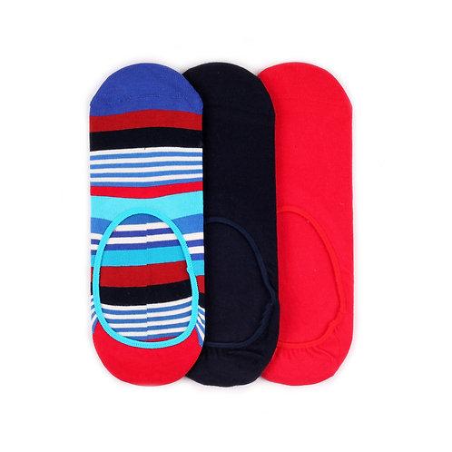 Happy Socks 3 Pair Pack Liners - Stripes/Black/Red