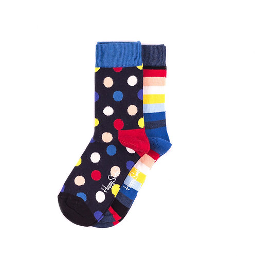 Happy Socks Kids 2 Pair Pack - Dots and Stripes - Navy