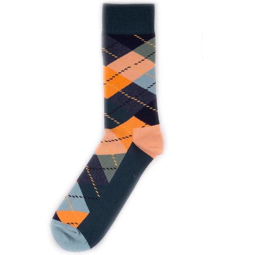 Happy Socks Argyle - Green/Orange/Blue