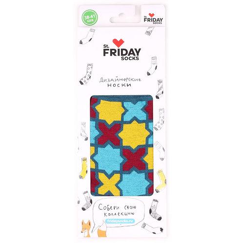 St.Friday Socks - Cross - Blue в подарочной упаковке