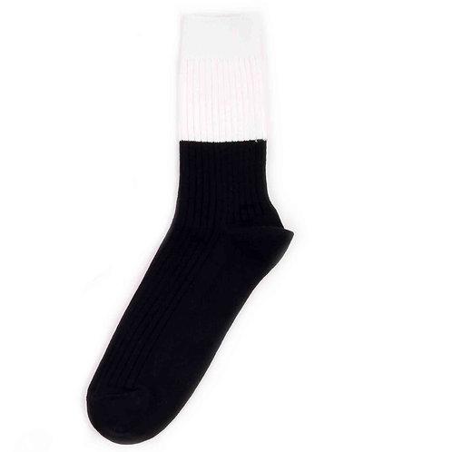 Yarn Works Socks - Work #0 - Color Blocks - White/Black