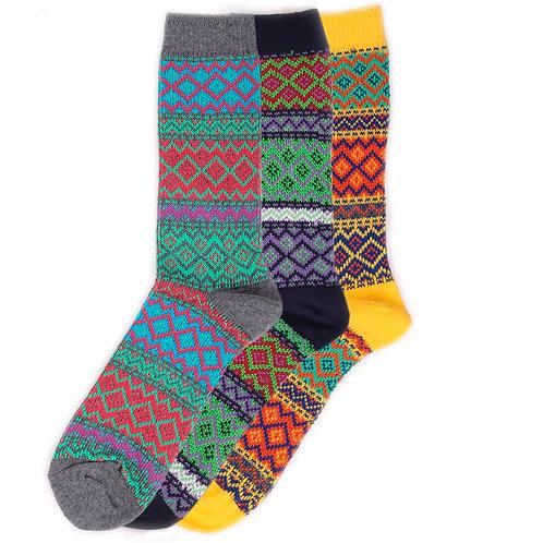 Yarn Works Socks - Work #7 - Green/Purple/Yellow - 3 Pair Set