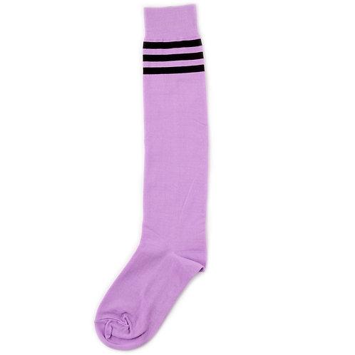 St.Friday Socks High Knees Three Stripes - Purple/Black