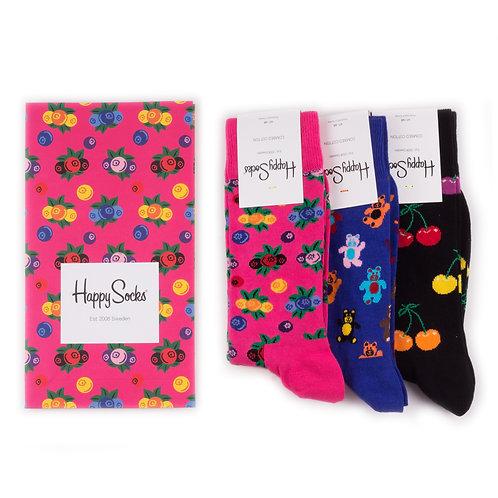 Happy Socks 3 Pair Pack in Paper Gift Bag - Berries