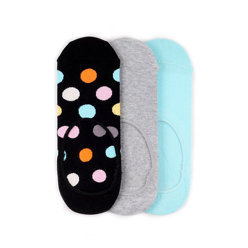 Happy Socks 3 Pair Pack Liners - Big Dot - Black/Grey/Blue