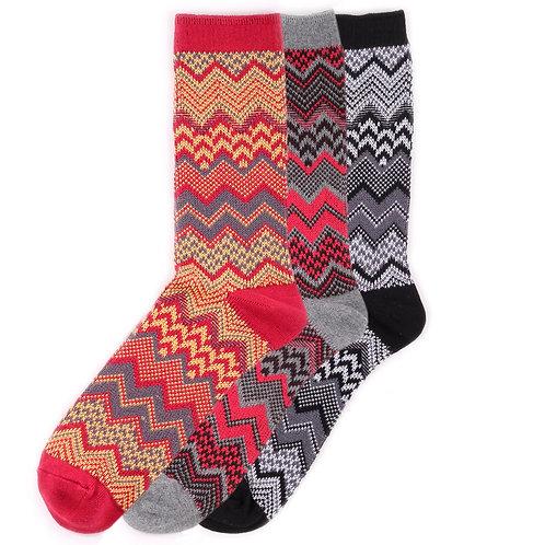 Yarn Works Socks - Work #5 - Mustard/Red/Black - 3 Pair Set