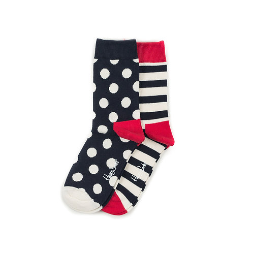 Happy Socks Kids 2 Pair Pack - Dots and Stripes - Black/Red