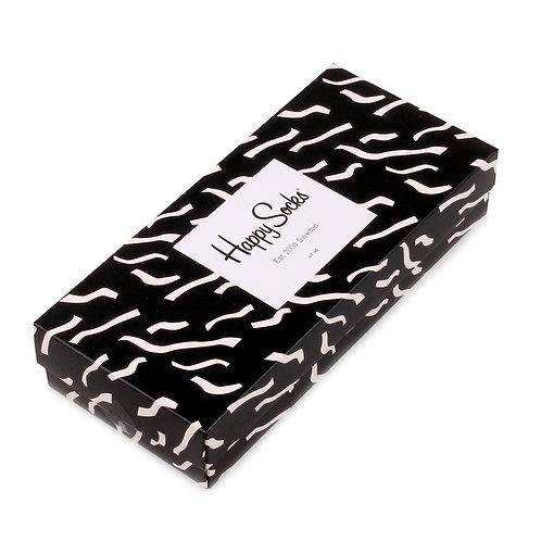 Happy Socks 4 Pair Gift Box - Black and White (Chaotic Lines)
