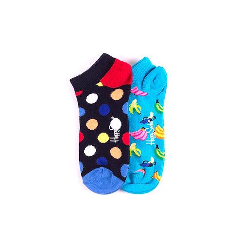 Happy Socks Набор из 2-x пар коротких детских носков - Горошины и Бананы