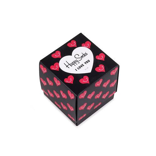 Happy Socks 3 Pair Gift Cube Box - I Love You