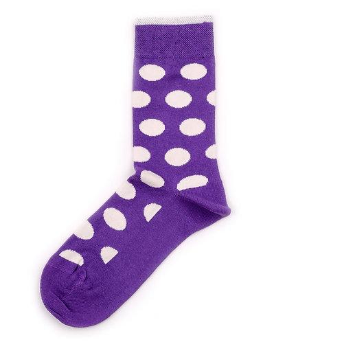 Democratique Socks Originals DotCom Dark Purple / Broken White