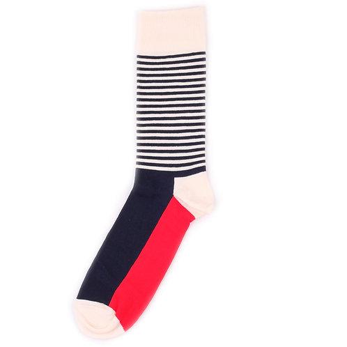 Happy Socks Half Stripe - Red/White