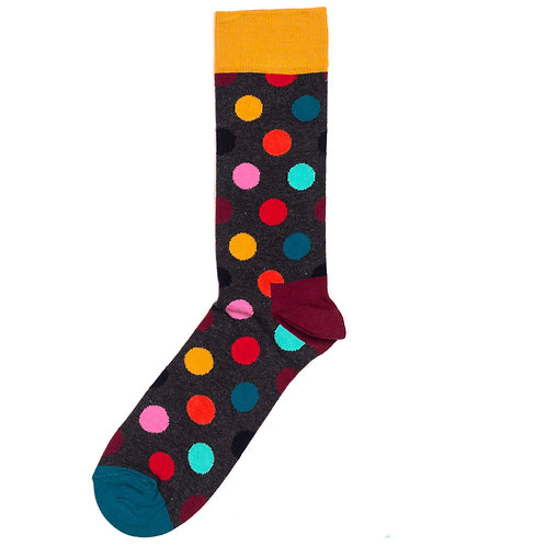Happy Socks Big Dot - Yellow/Grey