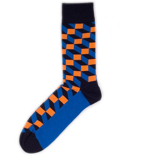 Happy Socks Optic Square - Blue/Black/Orange