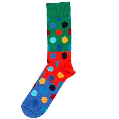 Happy Socks Big Dot Color Block - Green/Orange