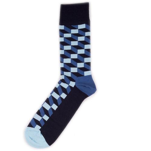 Happy Socks Filled Optic - Black/Navy/Blue