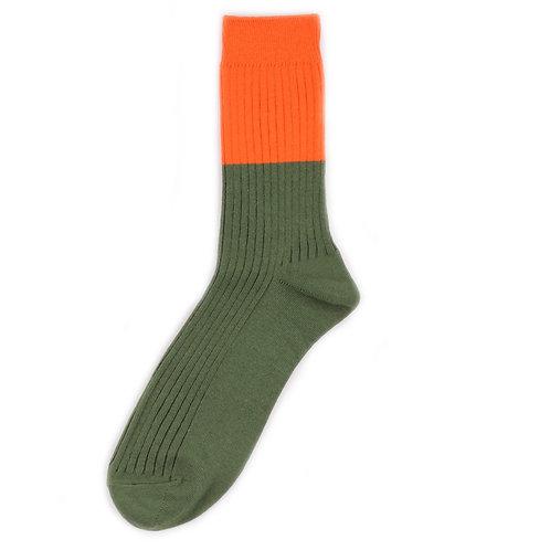 Yarn Works Socks - Work #0 - Color Blocks - Orange/Green