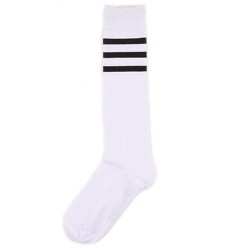 St.Friday Socks - Гольфы белые с чёрными полосами