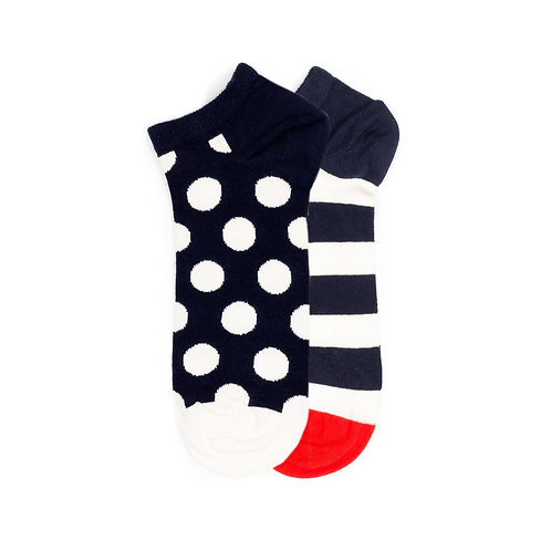 Happy Socks 2 Pack - Low - Dots and Stripes