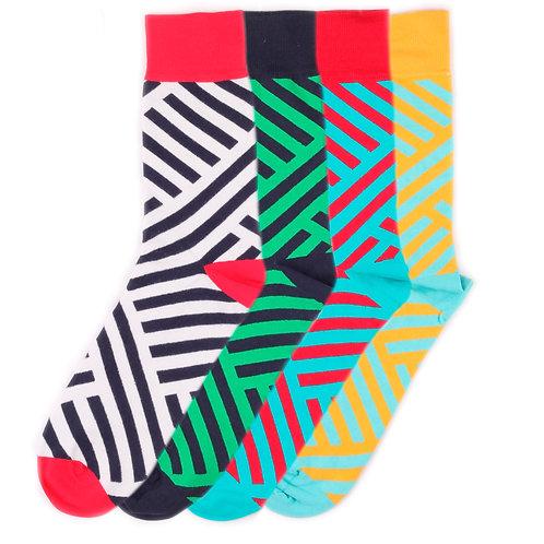 Burning Heels - Diagonal Stripes 4 Pairs Set