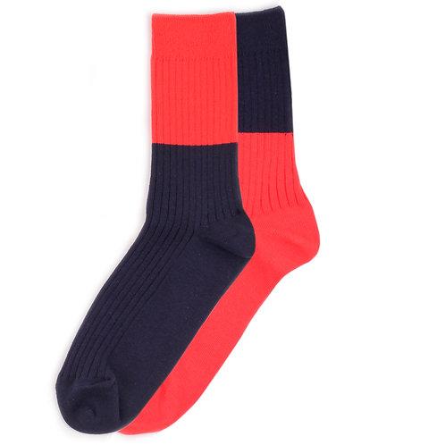 Yarn Works Socks - Work #0 - Color Blocks - Navy/Red - 2 Pair Set