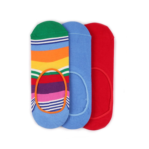 Happy Socks 3 Pair Pack Liners - Stripes/Blue/Red