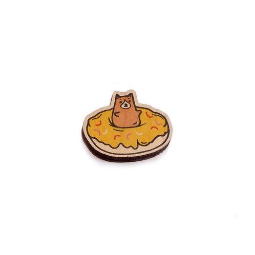 SUPER STUFF Деревянный значок - Dog Donut