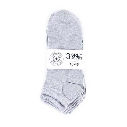 Sammy Icon Ankle Solid - 3 Pair Set - Grey